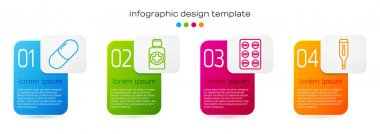 Set line Medicine pill or tablet, Bottle of medicine syrup, Pills in blister pack and Medical digital thermometer. Business infographic template. Vector. icon