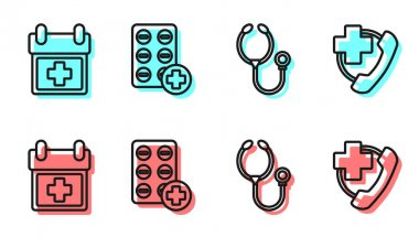 Set line Stethoscope, Doctor appointment, Pills in blister pack and Emergency phone call to hospital icon. Vector. icon