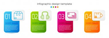 Set line Carton cardboard box, Headphones, Envelope and Cardboard box with traffic symbol. Business infographic template. Vector. icon