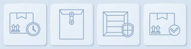 Set line Cardboard box and fast time, Delivery pack security with shield, Envelope and Package box with check mark. White square button. Vector. icon