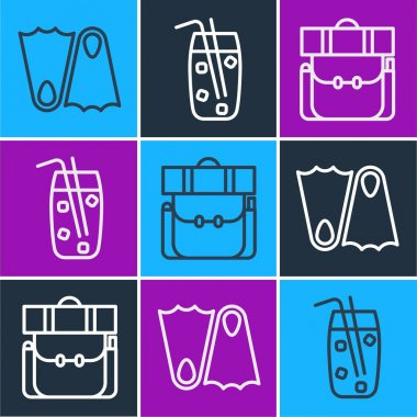 Set line Rubber flippers, Hiking backpack and Cocktail and alcohol drink icon. Vector. icon
