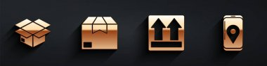 Set Carton cardboard box, Carton cardboard box, This side up and Mobile with app delivery tracking icon with long shadow. Vector. icon