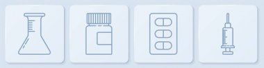 Set line Test tube and flask, Pills in blister pack, Medicine bottle and Syringe. White square button. Vector. icon