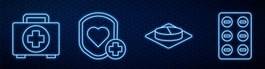 Set line Medicine pill or tablet, First aid kit, Shield and heart rate, Pills in blister pack and Bottle of medicine syrup. Glowing neon icon on brick wall. Vector. icon