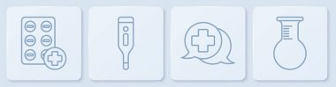 Set line Pills in blister pack, Dialogue with the doctor, Medical digital thermometer and Test tube and flask. White square button. Vector. icon