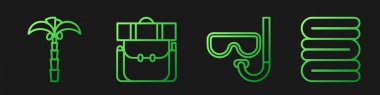 Set line Diving mask and snorkel, Tropical palm tree, Hiking backpack and Towel stack. Gradient color icons. Vector. icon
