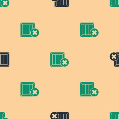 Green and black Wooden box and delete icon isolated seamless pattern on beige background. Box, package, parcel sign. Delivery and packaging.  Vector Illustration. icon