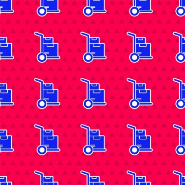 Blue Hand truck and boxes icon isolated seamless pattern on red background. Dolly symbol.  Vector Illustration. icon