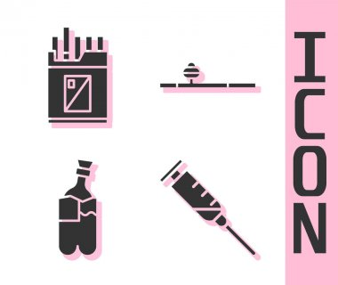 Set Syringe, Open cigarettes pack box, Bong for smoking marijuana and Opium pipe icon. Vector. icon