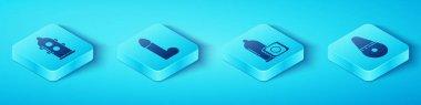Set Isometric Condom, Dildo vibrator, Dildo vibrator and Condom icon. Vector. icon
