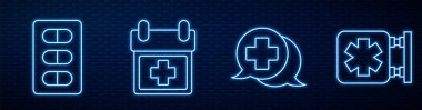Set line Dialogue with the doctor, Pills in blister pack, Doctor appointment, Medical symbol of the Emergency and Medicine bottle and pills. Glowing neon icon on brick wall. Vector. icon