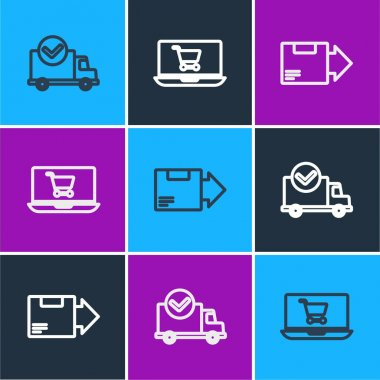 Set line Delivery truck with check mark, Carton cardboard box and Shopping cart laptop icon. Vector. icon