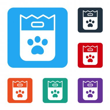 White Bag of food for dog icon isolated on white background. Dog or cat paw print. Food for animals. Pet food package. Set icons in color square buttons. Vector. icon