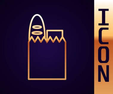 Gold line Paper shopping bag and food icon isolated on black background. Food store, supermarket.  Vector Illustration. icon