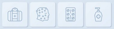 Set line First aid kit, Pills in blister pack, Psoriasis or eczema rash and Liquid antibacterial soap. White square button. Vector. icon
