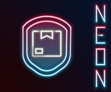 Glowing neon line Delivery pack security with shield icon isolated on black background. Delivery insurance. Insured cardboard boxes beyond the shield. Colorful outline concept. Vector Illustration. icon