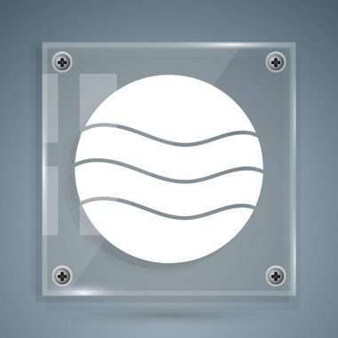 White Planet icon isolated on grey background. Square glass panels. Vector.