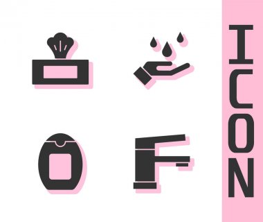 Set Water tap, Wet wipe pack, Bottle of shampoo and Washing hands with soap icon. Vector. icon