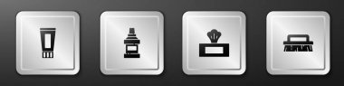 Set Tube of toothpaste, Mouthwash bottle, Wet wipe pack and Brush for cleaning icon. Silver square button. Vector. icon