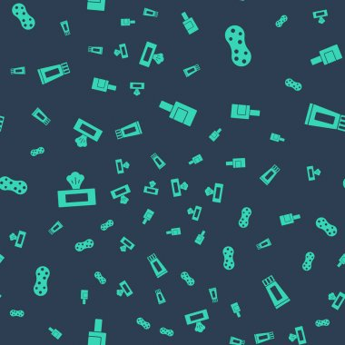Set Bottle for cleaning agent, Sponge, Wet wipe pack and Tube of toothpaste on seamless pattern. Vector. icon