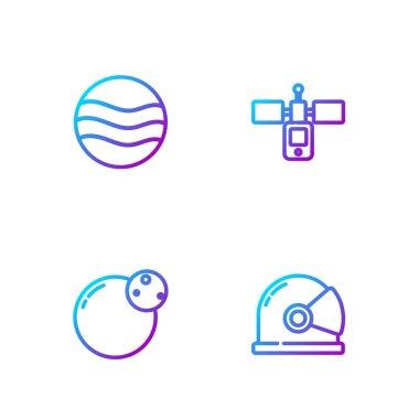 Set line Astronaut helmet, Planet,  and Satellite. Gradient color icons. Vector.