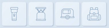 Set line Flashlight, Rv Camping trailer, gas stove and Hiking backpack. White square button. Vector. icon