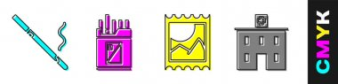 Set Cigarette, Open cigarettes pack box, LSD acid mark and Medical hospital building icon. Vector. icon