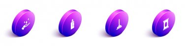 Set Isometric Washing hands with soap, Bottle for cleaning agent, Rubber plunger and Wet wipe pack icon. Vector. icon