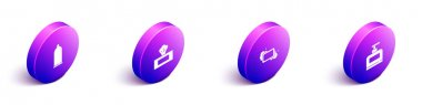 Set Isometric Condom, Wet wipe pack, Bar of soap and Bottle shampoo icon. Vector. icon
