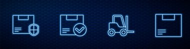 Set line Forklift truck, Delivery security with shield, Package box check mark and Carton cardboard. Glowing neon icon on brick wall. Vector. icon