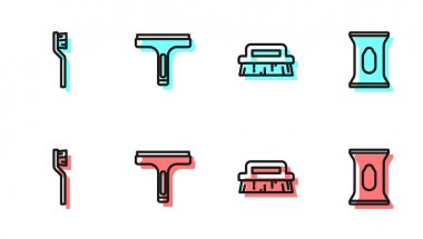 Set line Brush for cleaning, Toothbrush, Rubber cleaner and Wet wipe pack icon. Vector. icon