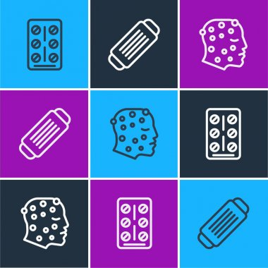 Set line Pills in blister pack, Psoriasis or eczema rash and Medical protective mask icon. Vector. icon
