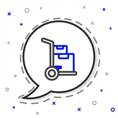 Line Hand truck and boxes icon isolated on white background. Dolly symbol. Colorful outline concept. Vector Illustration. icon
