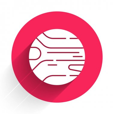 White Planet icon isolated with long shadow. Red circle button. Vector.