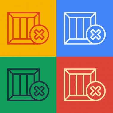 Pop art line Wooden box and delete icon isolated on color background. Box, package, parcel sign. Delivery and packaging.  Vector Illustration. icon