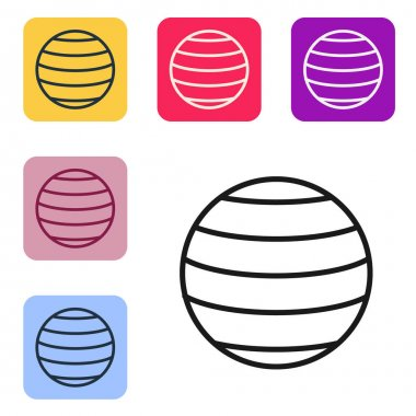 Black line Planet Venus icon isolated on white background. Set icons in color square buttons. Vector.