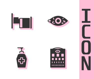 Set Eye test chart, Hospital bed, Liquid antibacterial soap and Reddish eye icon. Vector.