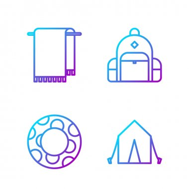 Set line Tourist tent, Rubber swimming ring, Towel on a hanger and Hiking backpack. Gradient color icons. Vector. icon