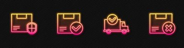 Set line Delivery truck with check mark, security shield, Package box and Carton cardboard and delete. Glowing neon icon. Vector. icon