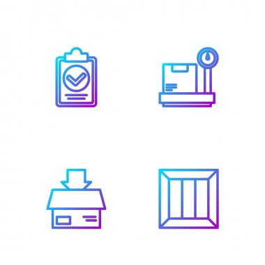 Set line Wooden box, Carton cardboard, Verification of delivery list clipboard and Scale with. Gradient color icons. Vector. icon