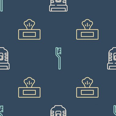 Set line Epilator, Wet wipe pack and Toothbrush on seamless pattern. Vector. icon