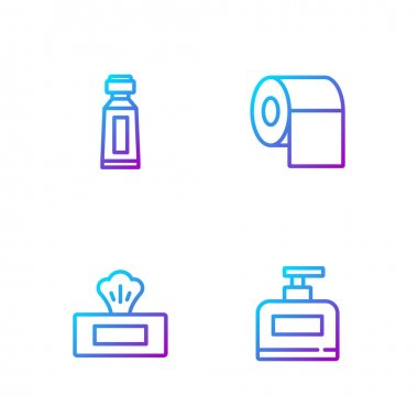 Set line Bottle of shampoo, Wet wipe pack, Tube toothpaste and Toilet paper roll. Gradient color icons. Vector. icon