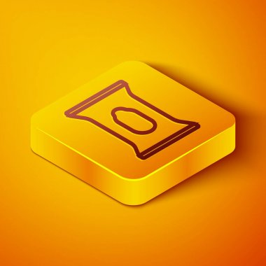 Isometric line Wet wipe pack icon isolated on orange background. Yellow square button. Vector. icon