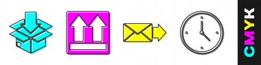 Set Cardboard box with traffic symbol, This side up, Envelope and Fast time delivery icon. Vector. icon