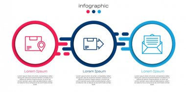 Set line Location with cardboard box, Carton and Envelope. Business infographic template. Vector. icon