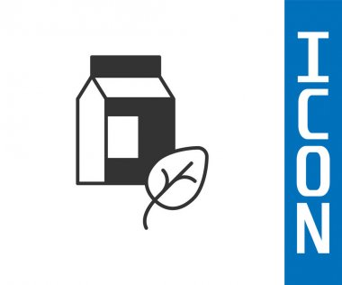 Grey Vegan milk icon isolated Grey background. Vegetarian product.  Vector. icon