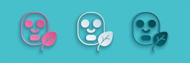 Paper cut Facial cosmetic mask icon isolated Paper cut background. Cosmetology, medicine and health care. Paper art style. Vector. icon