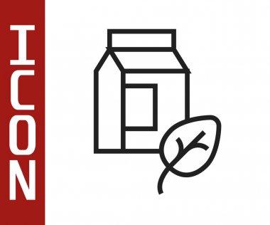 Black line Vegan milk icon isolated Black line background. Vegetarian product.  Vector. icon