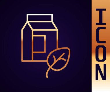 Gold line Vegan milk icon isolated Gold line background. Vegetarian product.  Vector. icon