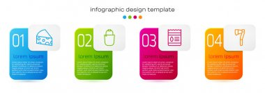 Set line Cheese, Bucket, Pack full of seeds of plant and Wooden axe. Business infographic template. Vector icon